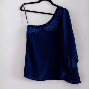 C. Luce Blue Silk Beaded One-Shoulder Top